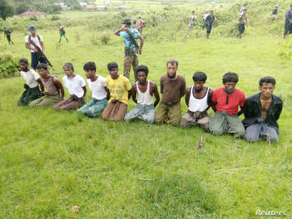 Ten Rohingya Muslim men with their hands bound kneel as members of the Myanmar security forces stand guard in Inn Din village September 2, 2017. Picture taken September 2, 2017.