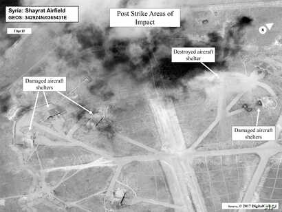 This satellite image released by the U.S. Department of Defense shows a damage assessment image of Shayrat air base in Syria, following U.S. Tomahawk missile strikes on Friday, April 7, 2017.