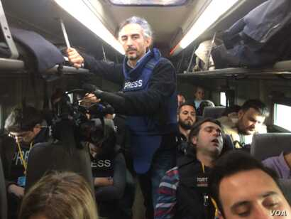 On a bus tour with Turkish officials in northern Syria on Feb. 1, 2018, some journalists get a taste of the mood on one side of the battle for Afrin. (H.Murdock/VOA)