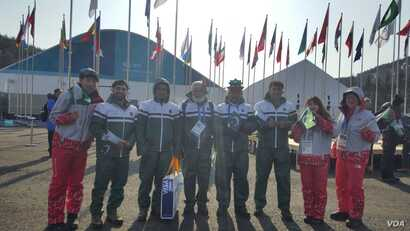 Team Pakistan in Pyeongchang, South Korea, for the 2018 Winter Olympics. Left to right: Muhammad Karim, Alpine skier; Shahid Nadeem, secretary general, Pakistan Ski Federation; Amjad Wali, cross-country coach; Sohal Naeem, Alpine ski coach; Syed Huma...