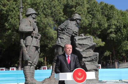 FILE - Turkish President Tayyip Erdogan speaks during a ceremony marking the 104th anniversary of Battle of Canakkale, also known as the Gallipoli Campaign, in Canakkale, Turkey, March 18, 2019.