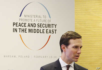 White House Senior Adviser Jared Kushner attends at a conference on Peace and Security in the Middle East in Warsaw, Poland, Feb. 14, 2019.