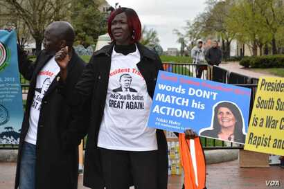 Protestors gathered in Washington D.C. to protest the ongoing war in South Sudan, April 16, 2018.