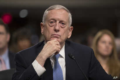 Defense Secretary-designate James Mattis listens to a question during his confirmation hearing before the Senate Armed Services Committee on Capitol Hill in Washington, Jan. 12, 2017.