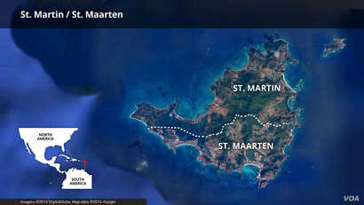 Map of St. Martin / St. Maarten island in the Caribbean