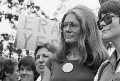 Gloria Steinem of the National Organization for Women attends an Equal Right Amendment rally outside the White House in this July 4, 1981 file photo. (AP)