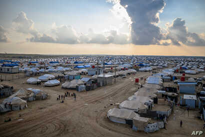 FILE - A general view of al-Hol camp is seen in al-Hasakeh governorate in eastern Syria, Feb. 17, 2019.
