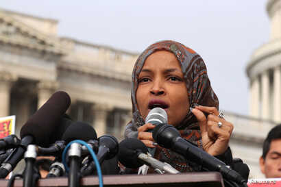 FILE - U.S. Representative Ilhan Omar (Democrat-Minnesota) speaks at a news conference at the U.S. Capitol in Washington, Feb. 7, 2019.