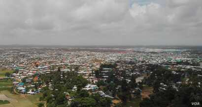 An overview of part of the Kutupalong refugee camp in Cox's Bazar, Bangladesh. Kutupalong, along with Nayapara refugee camp, are the two government-registered camps in Bangladesh.