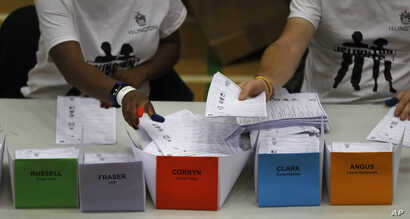 Votes for Britain's Labour Party leader Jeremy Corbyn are placed in a pile as they are counted at his constituency in London, June 9, 2017. Britain voted Thursday in an election that started out as an attempt by Prime Minister Theresa May to increase...