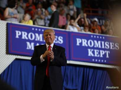 U.S. President Donald Trump leads a rally marking his first 100 days in office in Harrisburg, Pennsylvania, April 29, 2017.