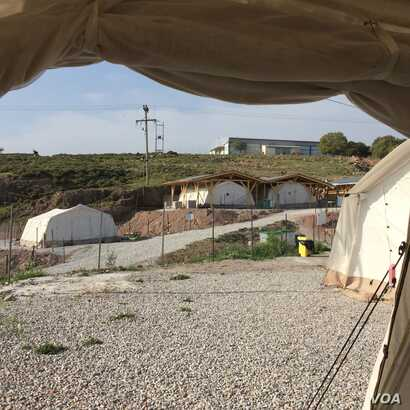 A camp at Mantamados sits empty, April 3, 2016. Aid workers at the site said the drop in the number of arrivals since the agreement between the European Union and Turkey is the reason, but Doctors Without Borders officials said the cause is unclear.