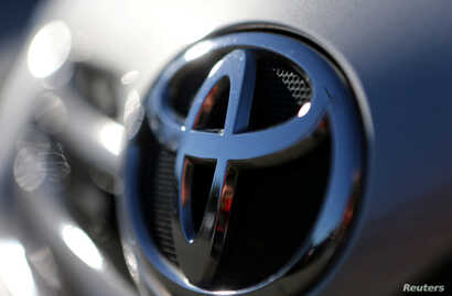The Toyota logo is seen on a car in Sao Paulo, Brazil, June 2, 2017. Toyota has said it will make automatic emergency braking standard on nearly all its U.S. models by the end of 2017.