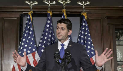 House Speaker Paul Ryan of Wis., addresses reporters at the Republican National Committee on Capitol Hill in Washington, ruling himself out of the Republican presidential race once and for all, April 12, 2016.