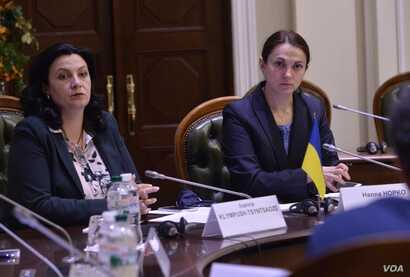 Hanna Hopko, head of Ukraine's Parliamentary Committee on Foreign Affairs, is seen at a meeting with fellow lawmakers in this undated photo, in Kyiv, Ukraine.