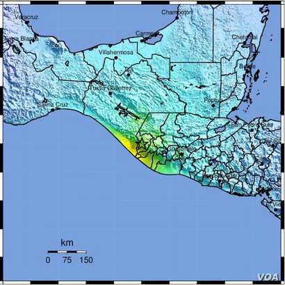 Guatemala earthquake map, June 14, 2017