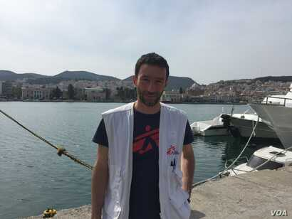 "Michele Telaro, field coordinator for Medecins Sans Frontieres, in Lesbos, April 3, 2016. ""MSF has a lot of concerns about the agreement in general. ... It was obviously completely crazy to pretend to sign an agreement on Friday night and to start t..."