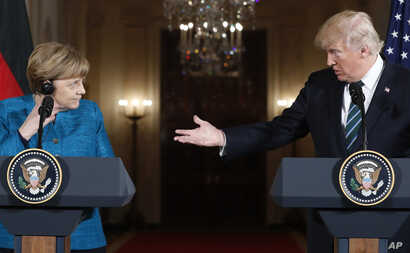 President Donald Trump and German Chancellor Angela Merkel participate in a joint news conference in the East Room of the White House in Washington, March 17, 2017.