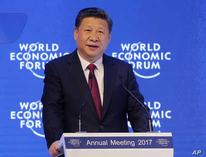 China's President Xi Jinping speaks at the World Economic Forum in Davos, Switzerland, Jan. 17, 2017.