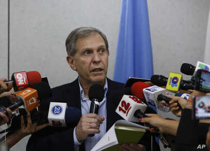 Guillermo Fernandez Maldonado, chief of the United Nation's human rights mission in Nicaragua speaks during a press conference at the U.N. building in Managua, Nicaragua, Aug. 31, 2018. Fernandez Maldonado said that he and his team would leave the co...