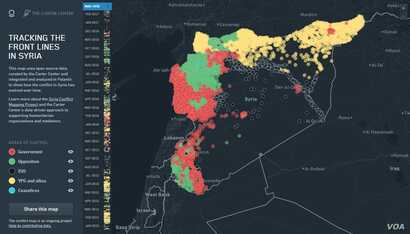 The Carter Center's dynamic conflict map of Syria, which provides provide mediators and humanitarian responders with up-to-date, information on developments throughout Syria.