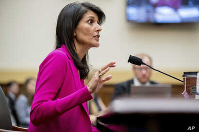 "U.S. Ambassador to the UN Nikki Haley testifies on Capitol Hill in Washington, June 28, 2017, before the House Foreign Affairs Committee hearing: ""Advancing U.S. Interests at the United Nations."""