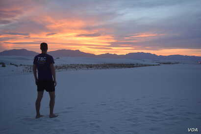"""Sunset at White Sands National Monument - a """"magical, otherworldly"""" place."""