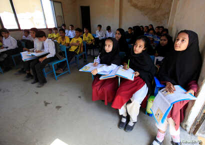 Children attend a class at Khushal school that Nobel Peace Prize laureate Malala Yousafzai used to attend, in her hometown of Mingora in Swat Valley, Pakistan, March 30, 2018.