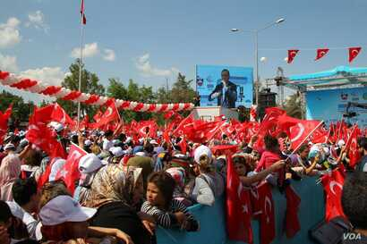 Turkey's president Recep Tayyip Erdogan speaking to his supporters in Diyarbakir in Turkey