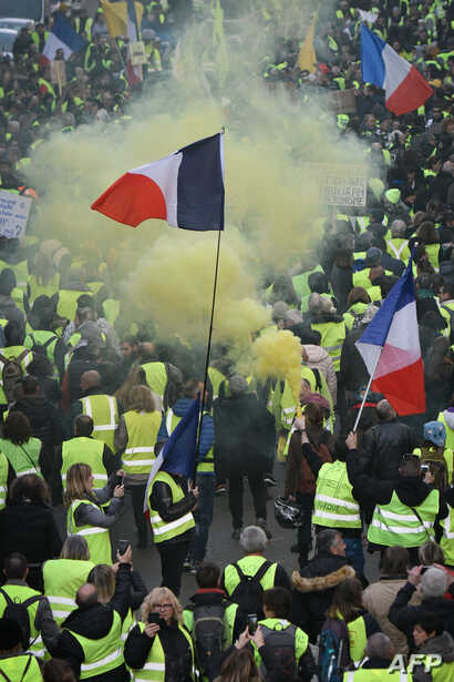 """Yellow vest"" protesters rally in Marseille, France, Feb. 9, 2019, as they take the streets for the 13th consecutive Saturday."