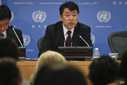 North Korea Deputy United Nations Ambassador Kim In Ryong speaks during a news briefing, Monday, April 17, 2017, at U.N. headquarters.