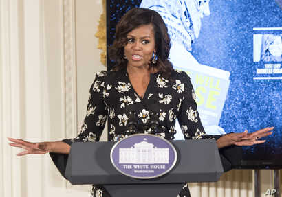 First Lady Michelle Obama speaks while hosting a special screening with the U.S. Department of State's Office of Global Women's Issues, of the new CNN Film We Will Rise: Michelle Obama's Mission to Educate Girls Around the World, at the White House...