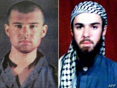 This combination of pictures created, April 17, 2019, shows at left a Feb. 6, 2002, police photo of John Walker Lindh and at right a Feb. 11, 2002, photograph of him from the records of the Arabia Hassani Kalan Surani Bannu madrassa in Pakistan's nor...