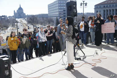 U.S. Rep Ilhan Omar, D-Minn., speaks to high school students from across the state of Minnesota who marched to the State Capitol steps Thursday, March 21, 2019 in St. Paul, Minn.