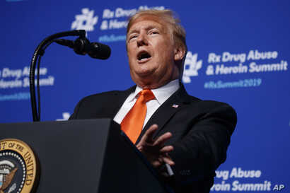 """President Donald Trump speaks at the """"Rx Drug Abuse and Heroin Summit,"""" in Atlanta, Georgia, April 24, 2019."""