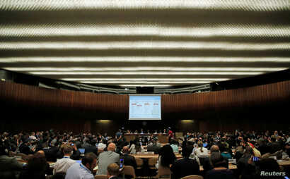 A slide is pictured during a briefing for World Health Assembly delegates on the Ebola outbreak response in Democratic Republic of the Congo at the United Nations in Geneva, May 23, 2018.