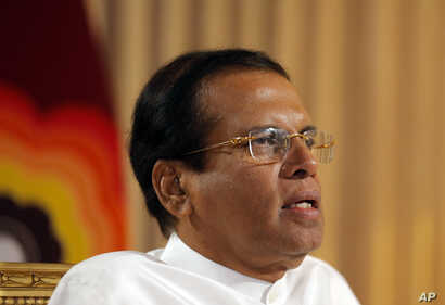 Sri Lankan President Maithripala Sirisena speaks during an interview with the Associated Press at his residence in Colombo, Sri Lanka, Tuesday, May 7, 2019.