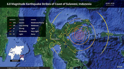 Sulawesi, Indonesia earthquake map