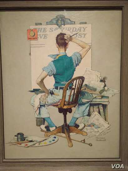 In this 1938 self-portrait called Deadline (Artist Facing Blank Canvas), Norman Rockwell painted himself trying to think of ideas for a cover illustration. (J.Taboh/VOA)