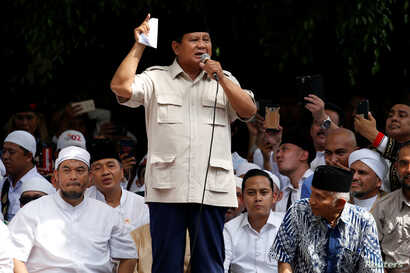 Indonesia's presidential candidate Prabowo Subianto speaks to his supporters after this week's presidential election in Jakarta, Indonesia, April 19, 2019.