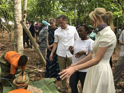 Ivanka Trump sampled a bit of raw cocoa fruit before speaking to the women of the cooperative in Ivory Coast, April 17, 2019.