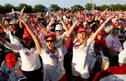 Supporters react during a campaign rally with U.S. President Donald Trump in Panama City Beach, Fla., May 8, 2019.