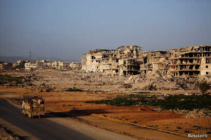 A general view of damaged buildings in Ein Terma, a district of eastern Ghouta, Syria, Feb. 26, 2019.