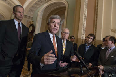 FILE - From left, Sen. John Thune, R-S.D., Sen. Roy Blunt, R-Mo., and Senate Majority Leader Mitch McConnell, R-Ky., speak with reporters following their weekly policy meetings, at the Capitol in Washington, Aug. 21, 2018.