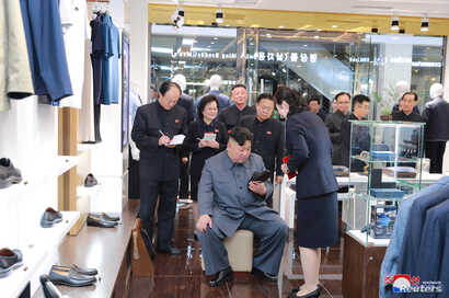 North Korean Leader Kim Jong Un visits Taesong Department Store just before its opening, in this photo released April 8, 2019 by North Korea's Korean Central News Agency.