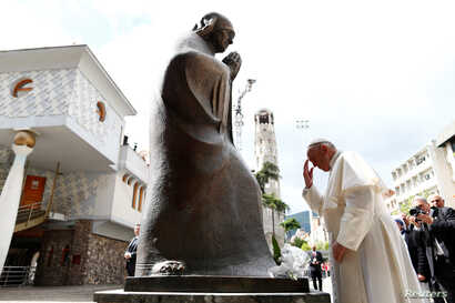 Pope Francis visits the memorial house of Mother Teresa in Skopje, North Macedonia, May 7, 2019.