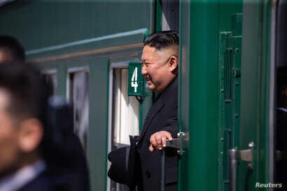 North Korean leader Kim Jong Un takes part in a farewell ceremony at a railway station as he departs from Vladivostok, Russia, April 26, 2019.