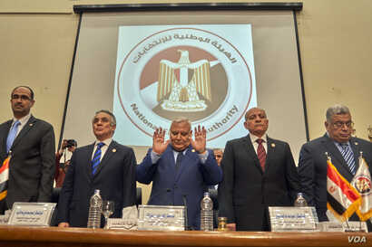 The National Election Authority meets in Cairo, April 17, 2019. Chariman Lasheen Ibrahim says election results will be announced by April 27, 2019.