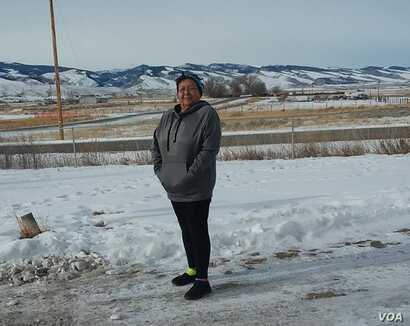 Cathy Ute, Eastern Shoshone, whose cancer is today in remission.  Photo taken March 13, 2019, Fort Washakie, Wyoming, on the Wind River Indian Reservation.