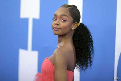 "Marsai Martin attends the LA premiere of ""Little,"" at the Regency Village Theatre, April 8, 2019, in Los Angeles."